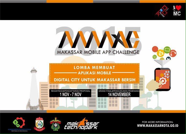 "Makassar Mobile App Challenge ""DIGITAL CITY UNTUK MAKASSAR BERSIH"". Info lebih lanjut : https://t.co/QDM5DRXQeF https://t.co/00RV35Y6Th"