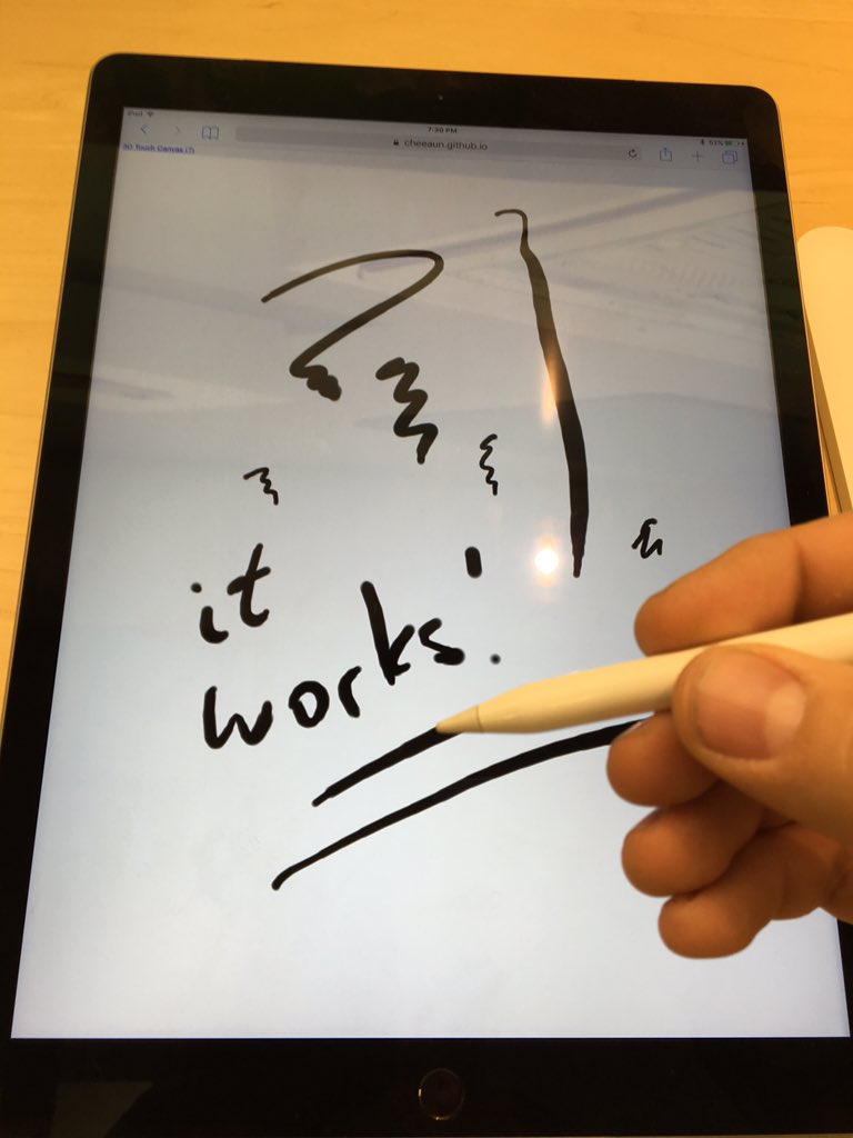 iPad Pro with Apple Pencil exposes force to JavaScript in Safari in the same way as 3D Touch on iPhone 6s(+) https://t.co/38Usiwswmz