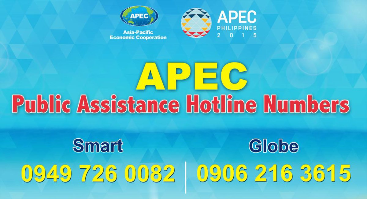You can contact the numbers for info abt APEC 2015, and to address APEC related concerns https://t.co/DgvX1YepAS