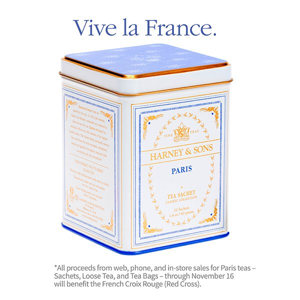 All proceeds from sales of Paris teas through Nov. 16 will benefit the French Red Cross: https://t.co/Q5xDCUJ4jJ https://t.co/Vw7EXFxgTH