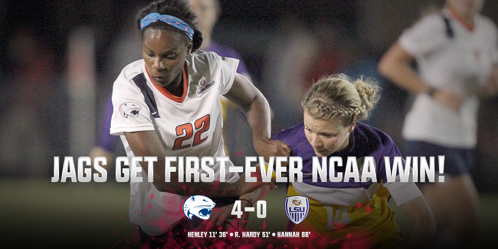 History made! @SouthAlabamaSoc downs LSU in NCAA first round #JagNation #FurtherTogether https://t.co/DCmrYtEbmE