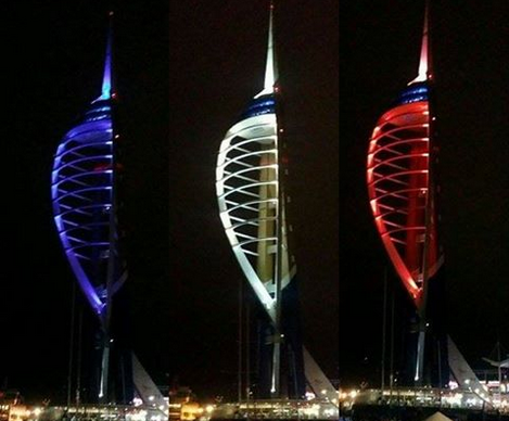 #Video shows Spinnaker Tower in #Portsmouth lit in red, white and blue in tribute to Paris https://t.co/wDEyLwZcCa https://t.co/KRkEQkEAYD
