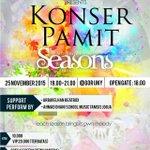 "#jogja @kathyermeysari 25/11/15 18.00 Marching band UNY ""Konser Pamit"" di Gor UNY   10-20K   085643307741 https://t.co/IrMLxwhrje"