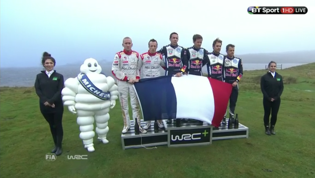 .@SebOgier, @krismeeke, @AMikkelsenRally pay respect to the victims of the Paris attacks. #WRGB #WRC #PrayForParis https://t.co/Suv5oZhBjh