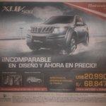 RT @anudady: @anandmahindra XUV500 getting popular in Peru. This ad in local newspaper El Comercio in Piura, North Peru https://t.co/PdDSdI…