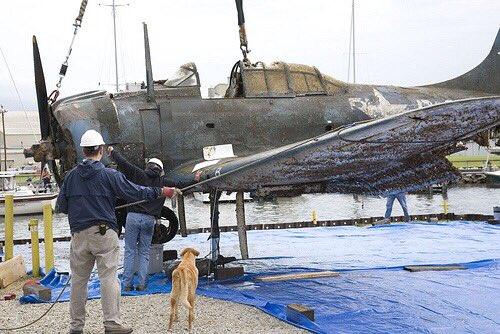 Lifting our SBD Dauntless from Lake Michigan where it had crashed https://t.co/5Br4w8wCYu https://t.co/v5lxy7lcT2
