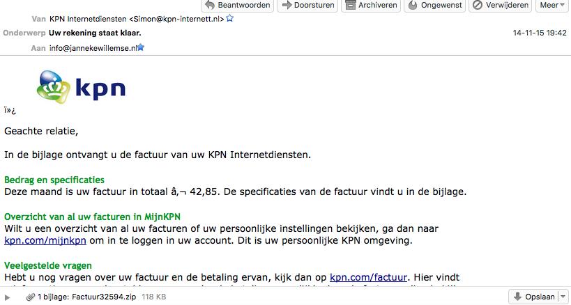 Zoooo hee, wat een sneaky phishingmailtje. Net echt van #KPN Bijna de zip-bijlage geopend. U bent gewaarschuwd! https://t.co/DFhx4phbAe