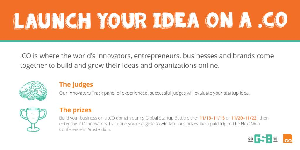 Got a big idea? Launch it on a .CO & compete in our @dotCO Innovators Track! https://t.co/lmIEiYhwEj #GSB2015 https://t.co/DXgHtw0TIl