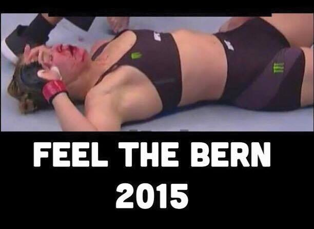 Before the fight, @RondaRousey endorsed that idiot @BernieSanders ; then this happened! #tcot #FeelTheBern https://t.co/w3YiEAHJHe
