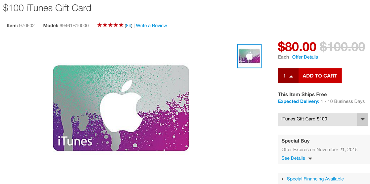 Grab $100 itunes gift card for $80, good for apple music, hbogo ...