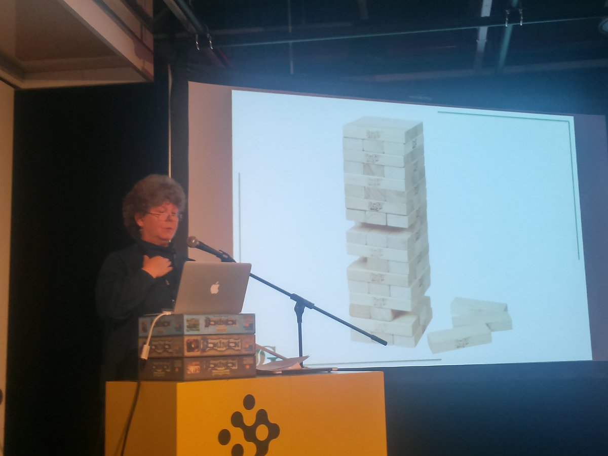 Leslie Scott, Jenga designer, on the importance of irregular blocks for allowing strategic choices. #practice15 https://t.co/iPYo1FMOMo