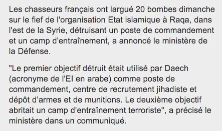#Syrie : bombardement massif français sur le fief de l'EI à Raqqa (Défense française) #AFP #ParisAttacks