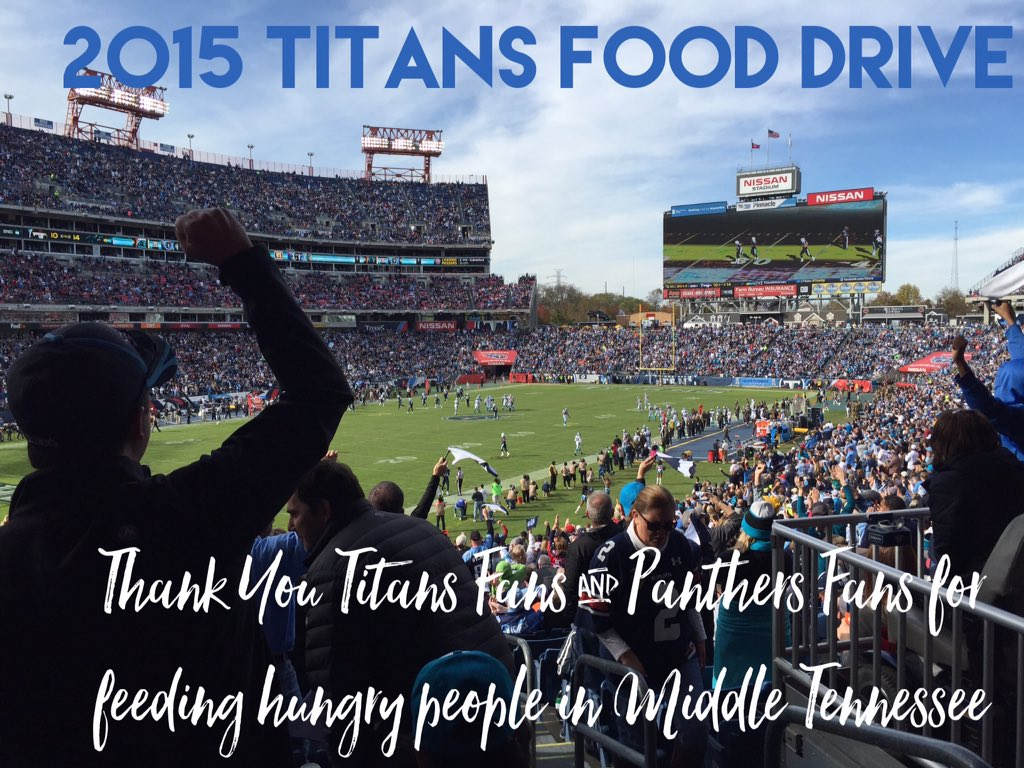 Thank you @Titans & @Panthers fans! Today, you donated nearly 25,000 pounds of food to our neighbors in need! https://t.co/v1J1rye0jh