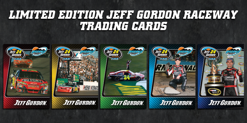 Follow @PhoenixRaceway & RT to win Limited Edition Jeff Gordon Raceway Trading Cards!  #QLHeroes500 #24ever https://t.co/alDWHq2IZG