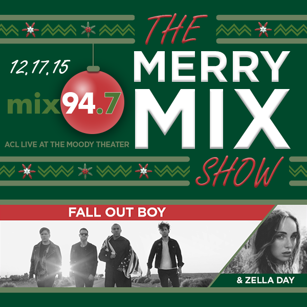 Just Annced: @Mix947Austin presents The Merry Mix Show ft. @falloutboy w/ @Zelladay, 12/17!  https://t.co/JZIlwoRUfR https://t.co/9UMNgvHAe7