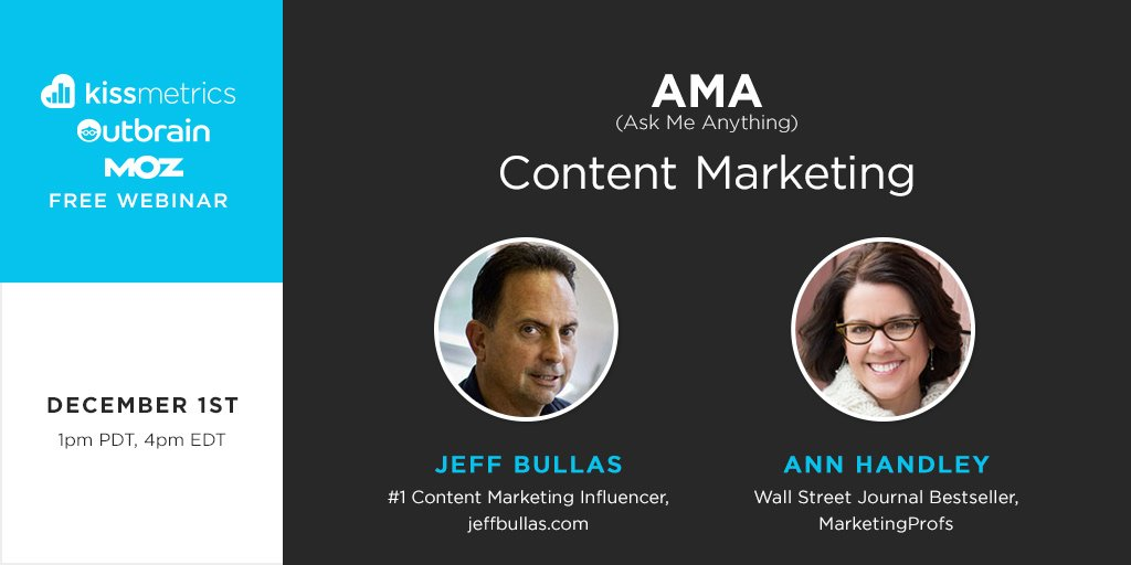 AMA webinar with 2 of the brightest minds in content marketing @jeffbullas @MarketingProfs https://t.co/CkeqXEdcYL https://t.co/GLuM7VPIBt