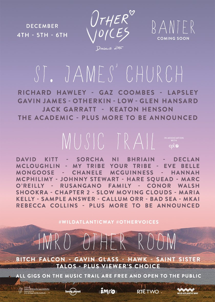 To celebrate our second announcement today we've got 2 X FRIDAY tickets up for grabs! RT to enter. #OtherVoices https://t.co/phQKMe2nNK