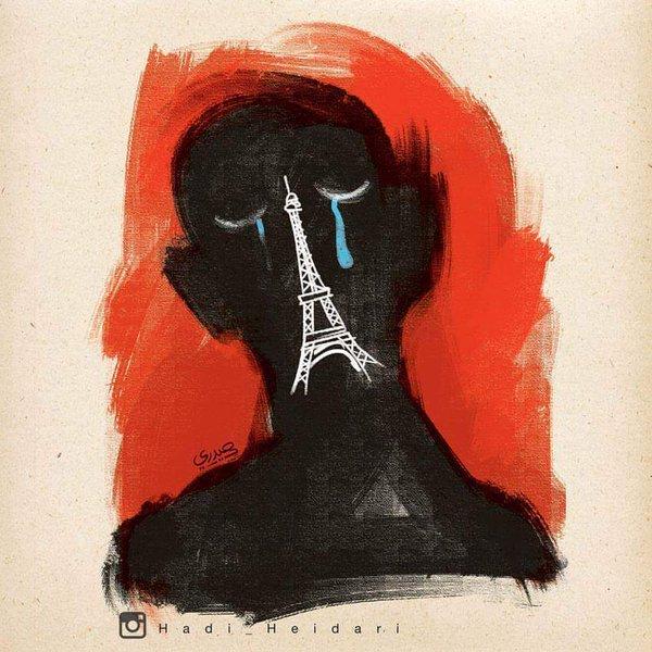 Iranian cartoonist, Hadi Heidari, arrested today in Tehran. His last cartoon was about #ParisAttacks https://t.co/suEi5MF6St