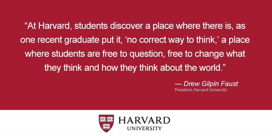 "President Faust describes Harvard as a place where students are ""free to question"" #MyHarvard https://t.co/VRyeesbX4R"