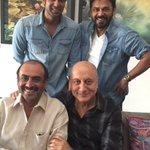 RT @AnupamPkher: So delighted to meet & have lunch with Suresh Babu, Venketesh & @RanaDaggubati in Hyderabad. Missed RamaNaidu Ji's. https:…