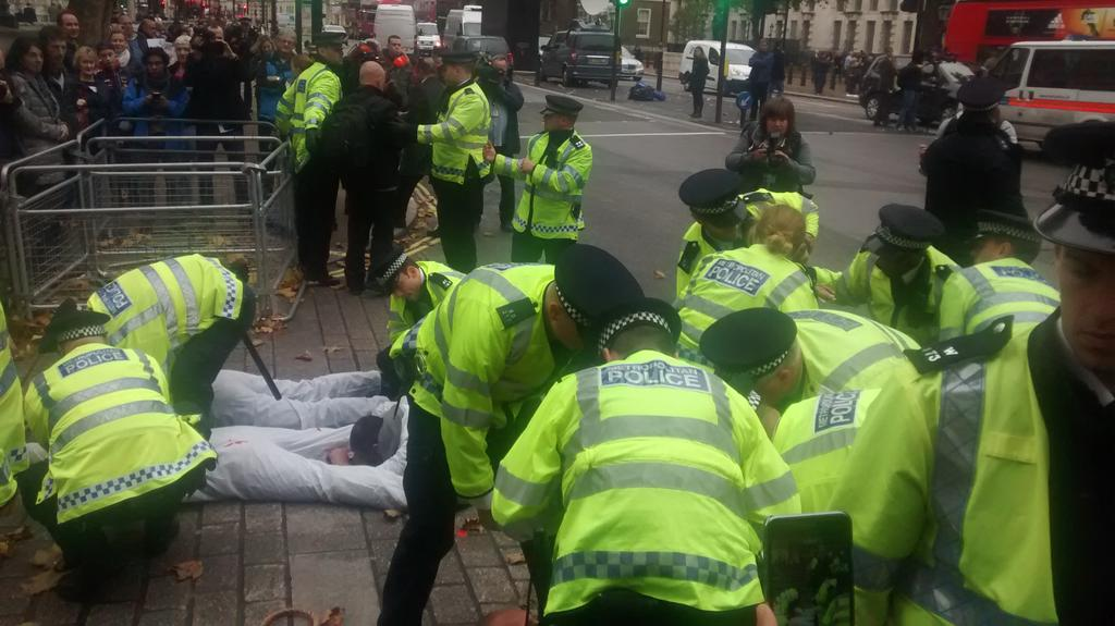 Police physically remove anti- Sisi protesters outside Downing St. One still lying there #Egypt https://t.co/MjJcj29DXZ