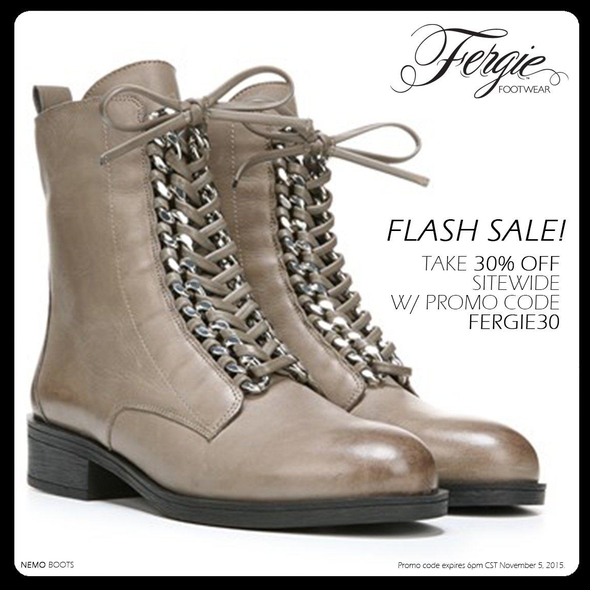 RT @FergieFootwear: #FlashSale! Save 30% on @Fergie #shoes sitewide w/ #promocode FERGIE30 til 6pm CT. #shoesale https://t.co/Yji1HckQv2 ht…