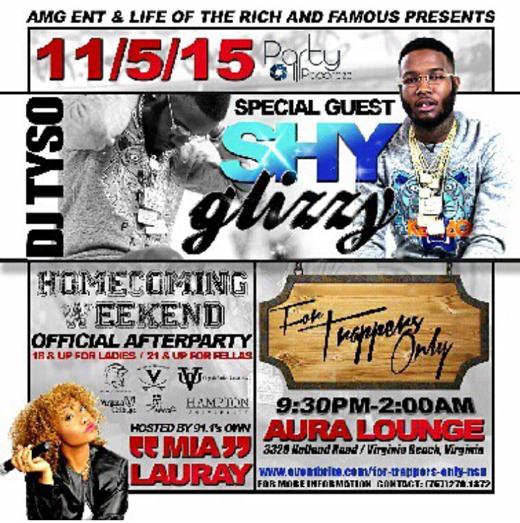 tonight @ShyGlizzy live @auralounge757 after the show it's the Afterparty lit