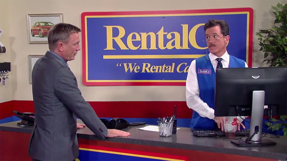 Watch: Daniel Craig and Stephen Colbert rent James Bond a car on @colbertlateshow