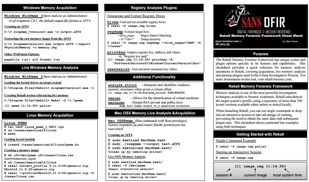 Newly updated #FOR526 Rekall Memory Forensic Framework #CheatSheet is out. Dowload it here https://t.co/86quPI8I1a https://t.co/MU5SnwlHl7