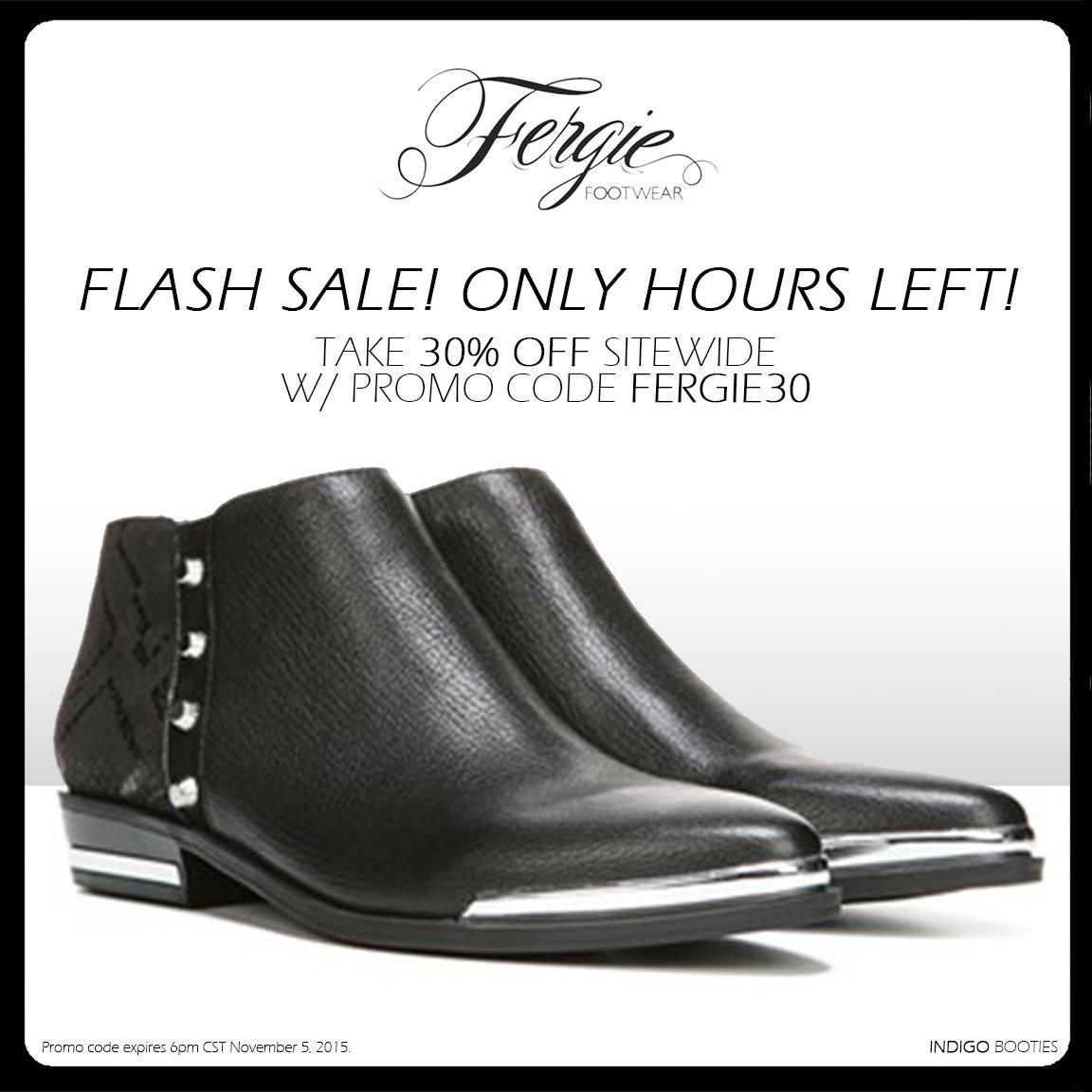 RT @FergieFootwear: #FlashSale til 6pm CT! Save 30% on @Fergie #shoes sitewide w/ #promocode FERGIE30. #shoesale https://t.co/h8LzbqcArR ht…
