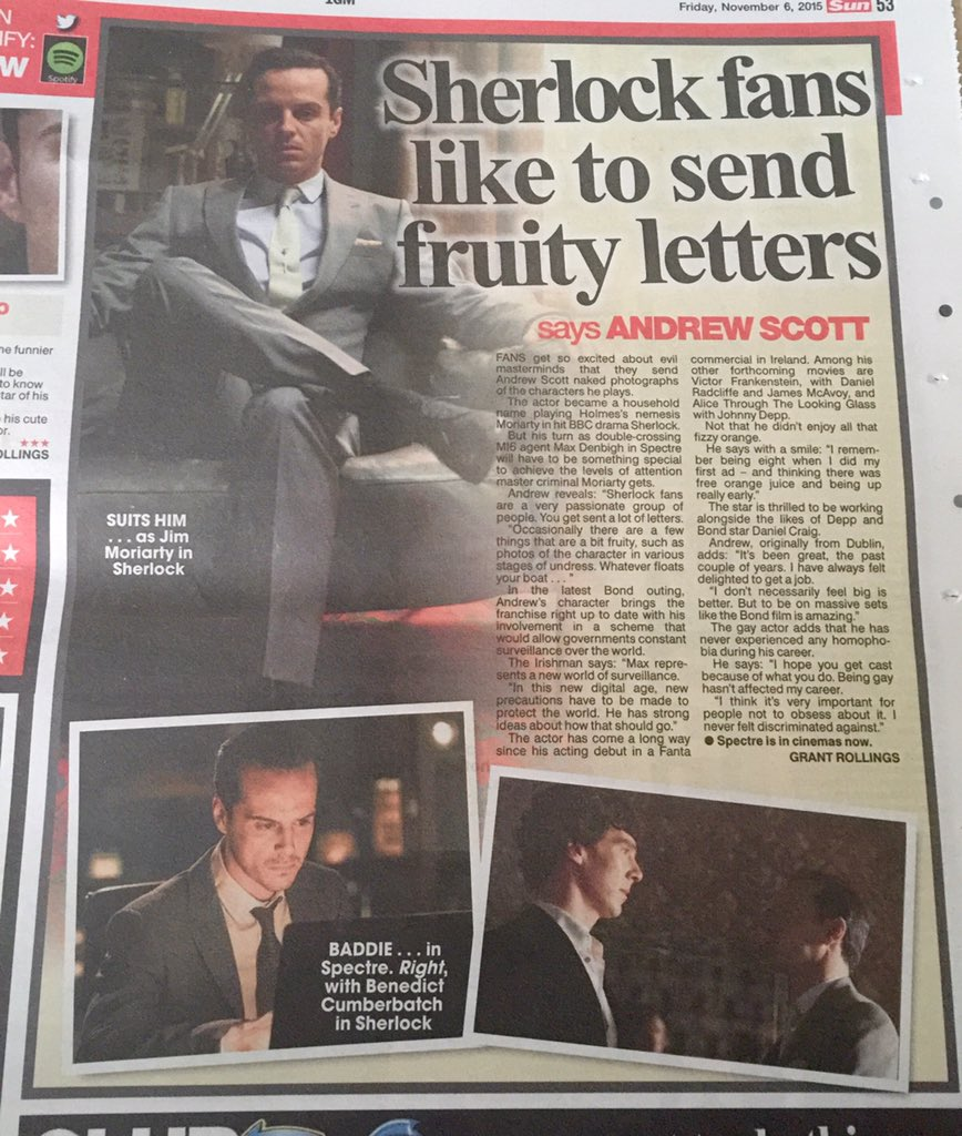 @cumberbatchweb @cumberbatchfrm Small piece with Andrew Scott in today's Sun. https://t.co/JHJkGFvFTe