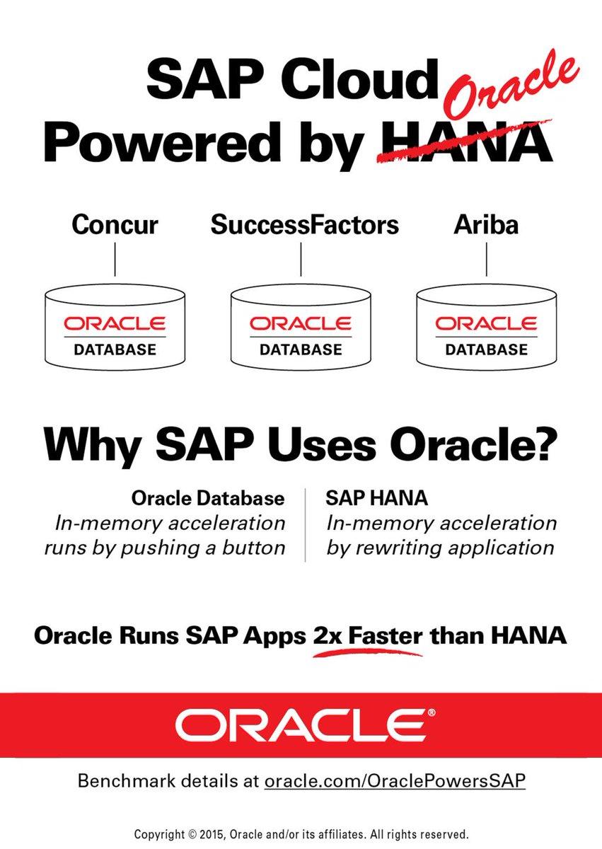 .@Oracle runs #SAP apps 2x faster than #HANA. Details in [#whitepaper] https://t.co/Icq8MQkNCf  #DB12c https://t.co/pN3Aspai2p