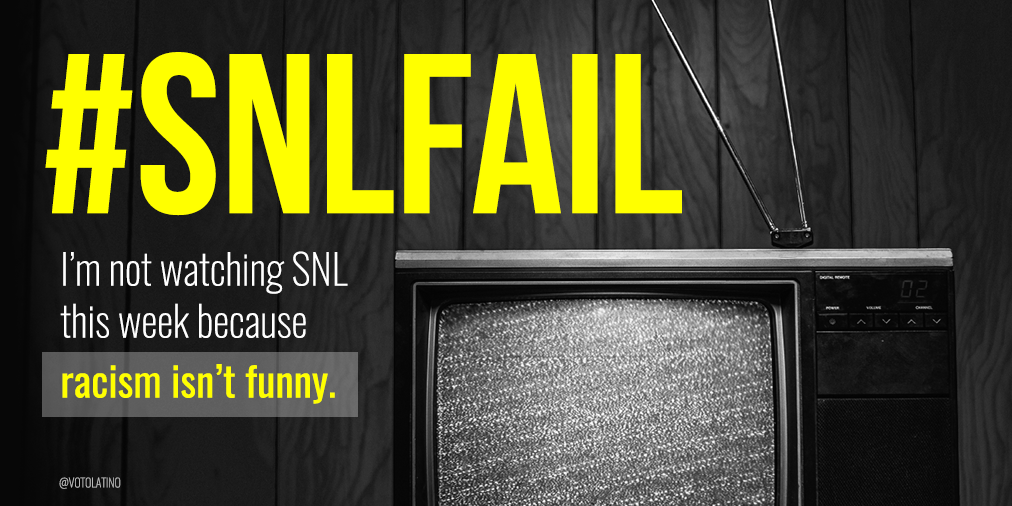 Words have consequences. RT if you're not watching this week's SNL. #SNLfail #RacismIsntFunny https://t.co/2bqhVKUs2d