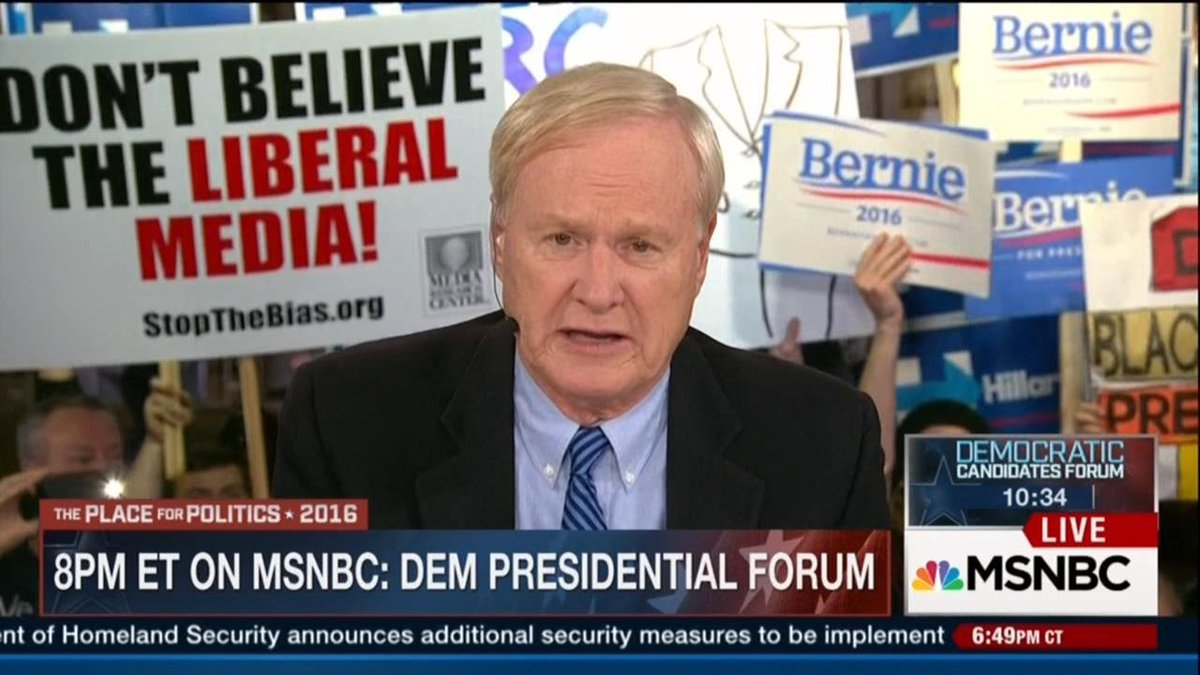 "Image: @TheMRC's ""Don't Believe the Liberal Media!"" sign next to @Hardball_Chris's head on MSNBC tonight #TTT16 https://t.co/mk4Y1yAdrf"