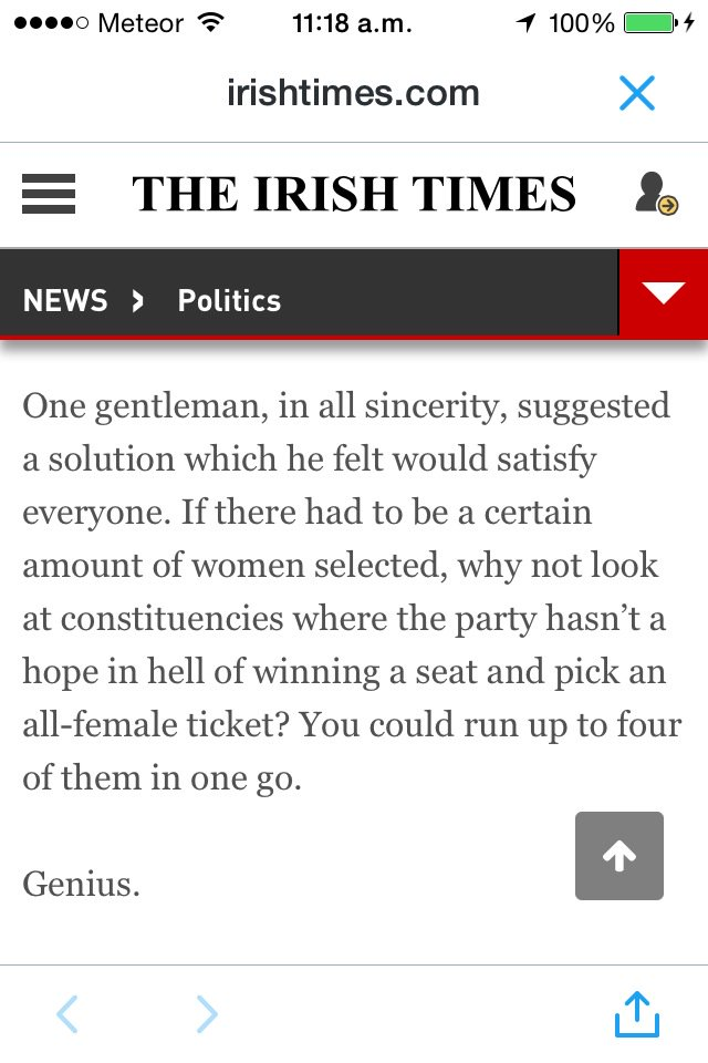 Miriam Lord reports that a FF national exec member has a genius idea for the gender quota issue. Sorted. https://t.co/krhTmhNTea