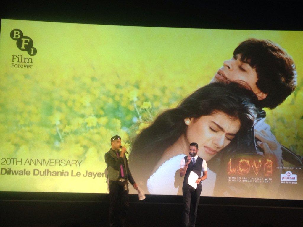 Brilliant intro by @rajpablo for #DDLJ Raj! You're my Raj! Rahul & Pahul were cute too! #BFILove https://t.co/mMBE2MJ0IK