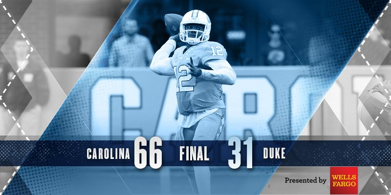 CAROLINA VICTORY! #UNCFB dominates Duke en route to its eighth straight win, 66-31! #GoHeels #GotYourBack https://t.co/sAkjVeA6UH