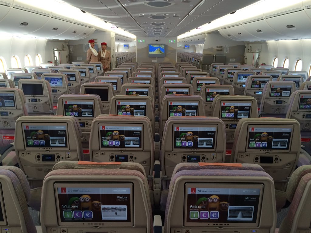 On board the first 2-cabin A380 from @emirates at #DAS15. Giant screens on these economy seats. #paxex https://t.co/f4VTUtRpjs
