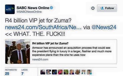 So the @SABCNewsOnline community manager is probably without a job tomorrow... Totally worth it though I'd say :-) https://t.co/ALTjUKFugb