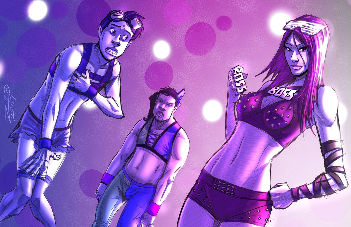 The hosts of @OTVScreen as @BeckyLynchWWE, @SashaBanksWWE, and @itsBayleyWWE by Zip Alegria. Amazing. https://t.co/lQekwycF50