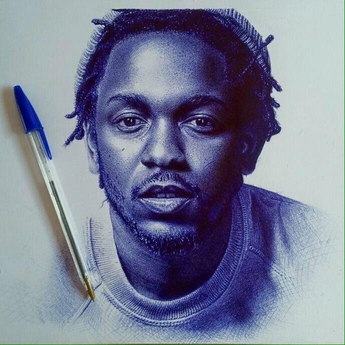 A ballpoint drawing of @kendricklamar   Medium: Ball-point pen on paper  Time: Approx 80hours  Artist: Oscar Ukonu https://t.co/vbfvFrdkpV