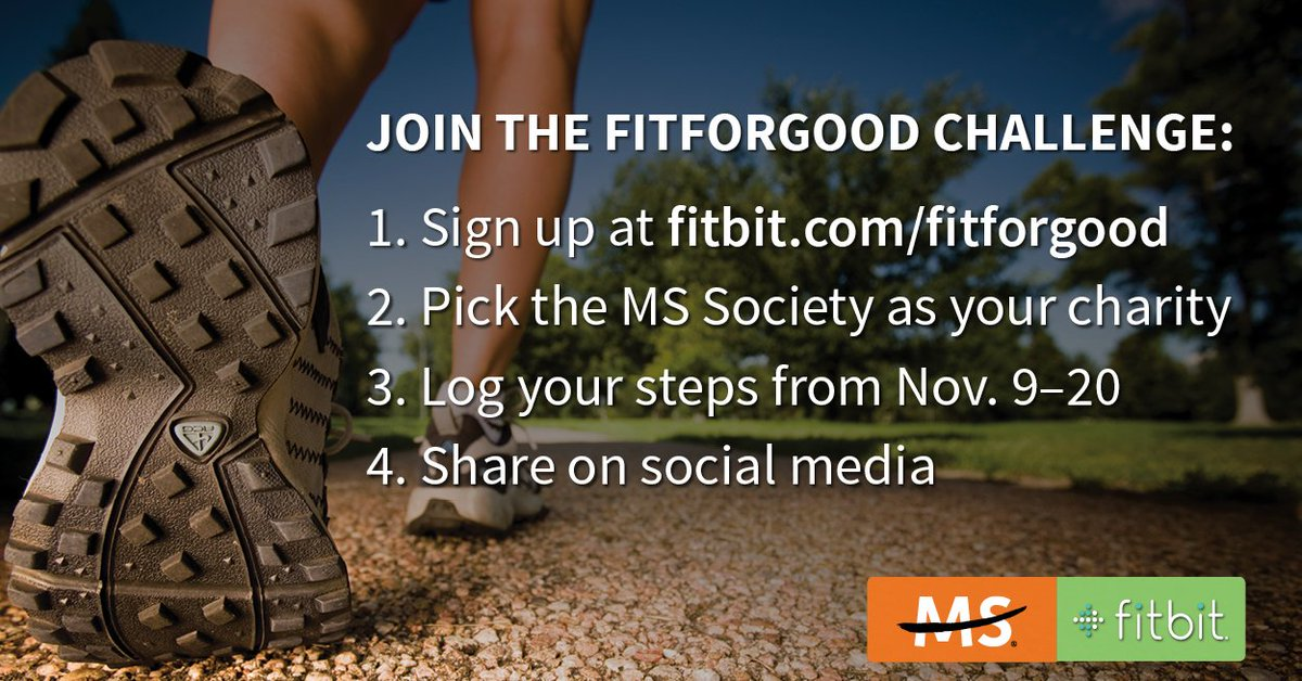 Please RT! Join the #FitForGood challenge to help us win up to $500,000 to #endMS with your @Fitbit! Here's how: https://t.co/pYgUR72HZw