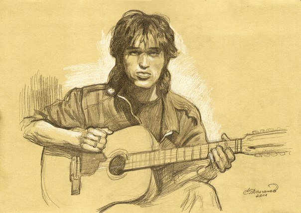 Виктор цой с гитарой рисунок