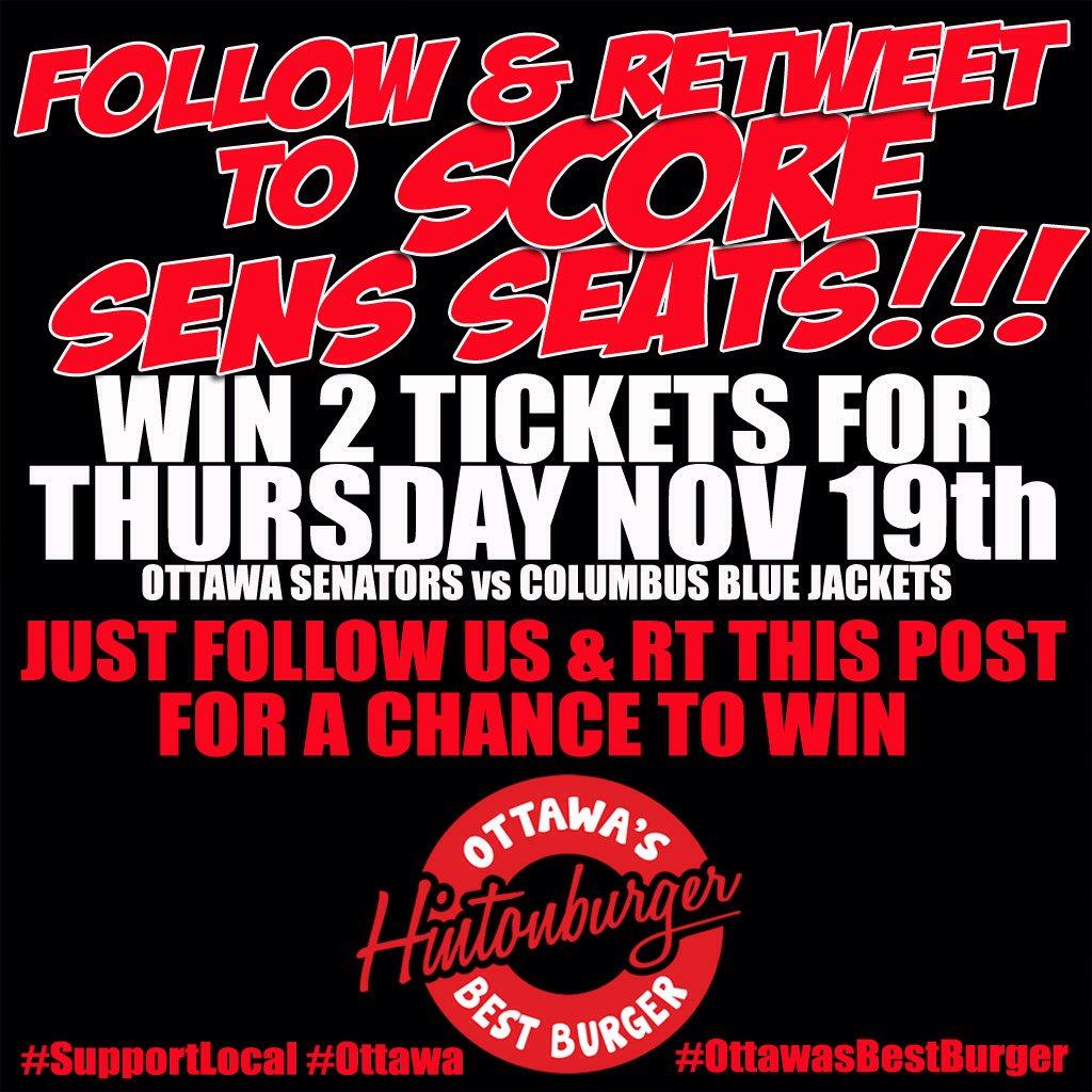 Follow & RT to #WIN 2 txts @ottawasenators vs #Columbus #BlueJackets Nov19 #GoSensGo #Ottawa #OttawaSenators https://t.co/Lr0RaXDy8x