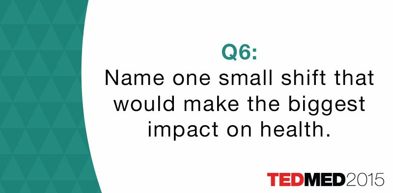 Time for #TEDMED #cultureofhealth Q6: Name one small shift that would make the biggest impact on health. https://t.co/99sh5Mgg9G