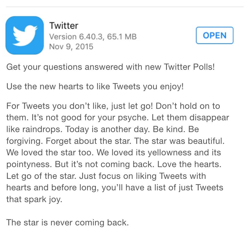 I guess Twitter is super serious about that the heart thing, then. https://t.co/tUTmB8h0zY
