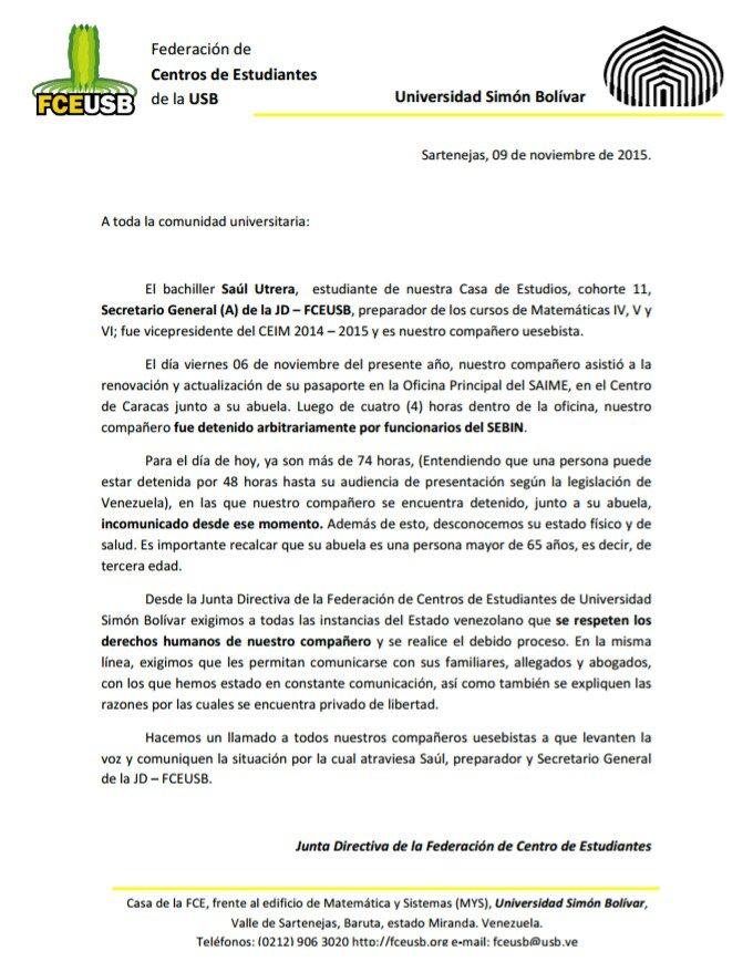 URGENTE: Comunicado de la JD-FCEUSB acerca de la detención arbitraria de nuestro Secretario General Saul Utrera. https://t.co/uGCDMFdlBu