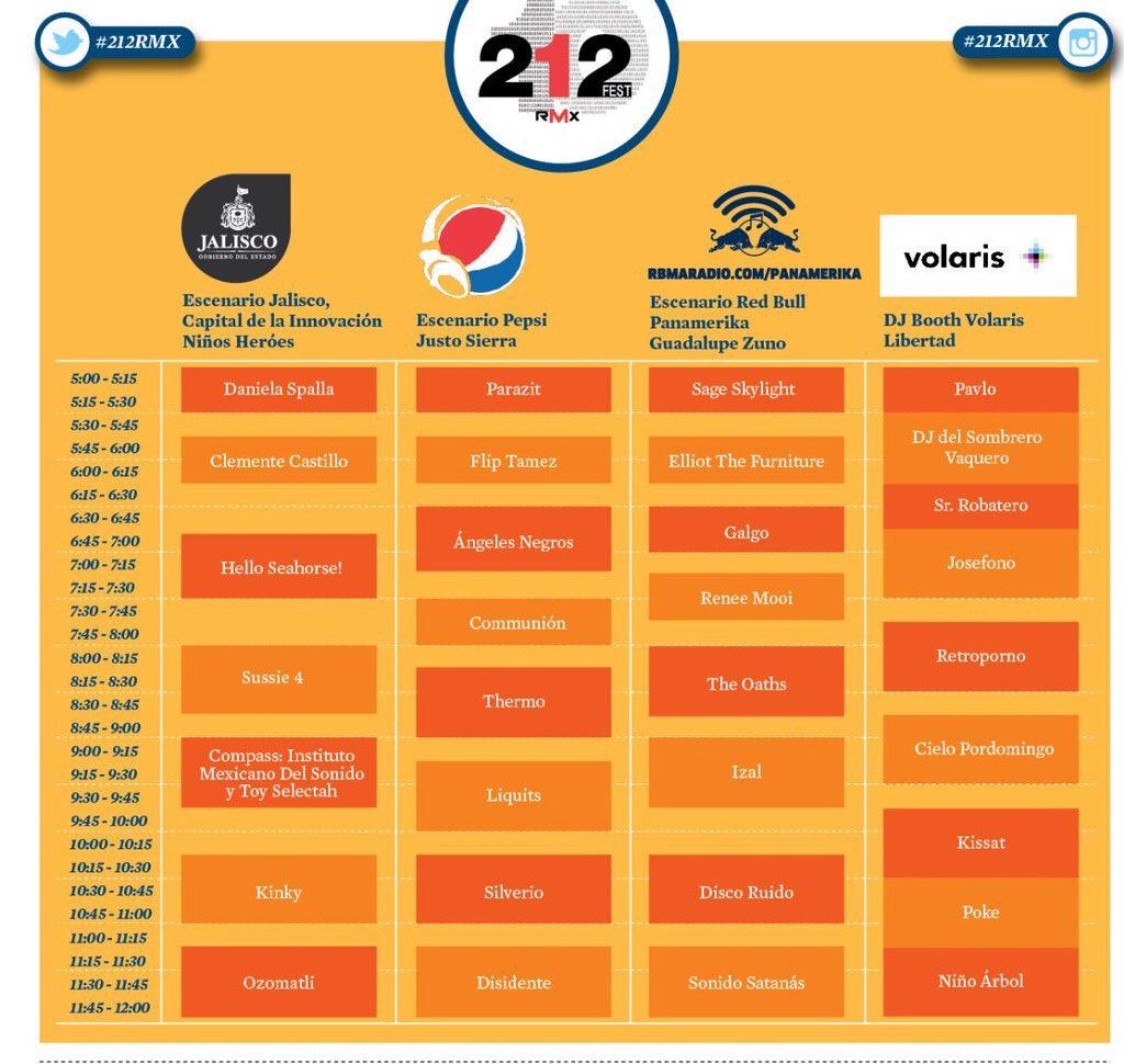 Así los horarios y escenarios de #212RMX el próximo sábado 14 de noviembre gratis en Av Chapultepec https://t.co/HOiyXZIT7B