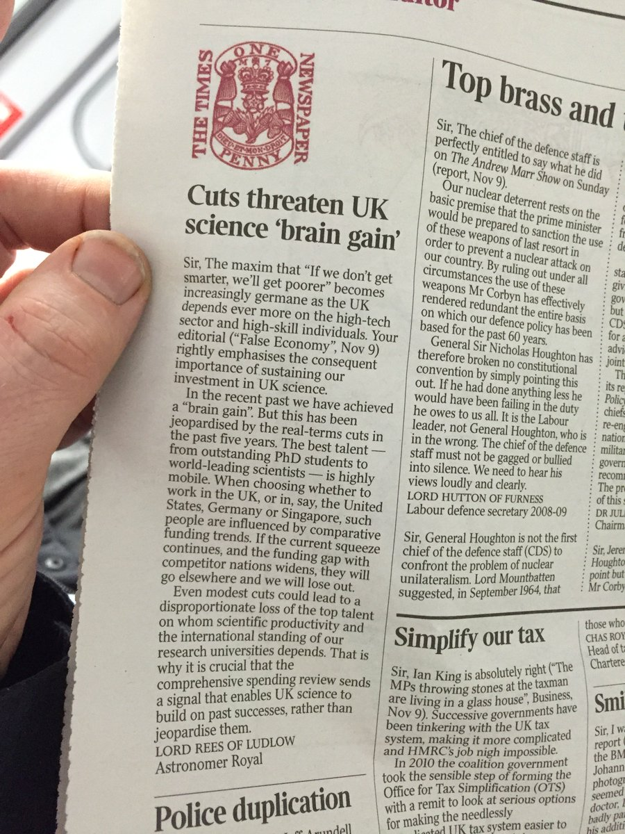 Martin Rees on the importance of science funding, today's Times @scienceisvital https://t.co/mqxwMQkwWV