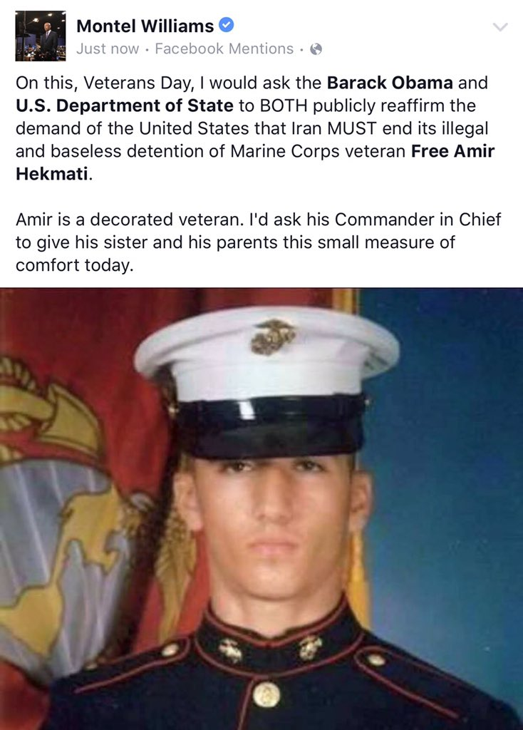 On #VeteransDay I would hope the Administration would give #FreeAmirNow family this measure of comfort. https://t.co/Tul88H8gpm